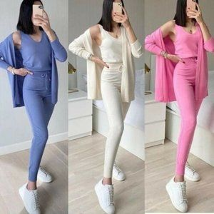 3 Pieces Comfortable Knitwear Set / Cotton